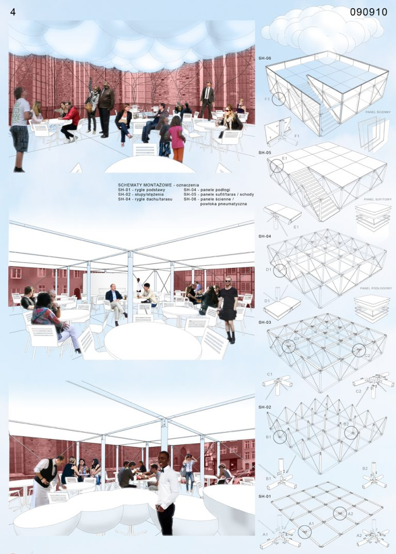 Projekt tymczasowego pawilonu gastronomicznego w Gdańsku