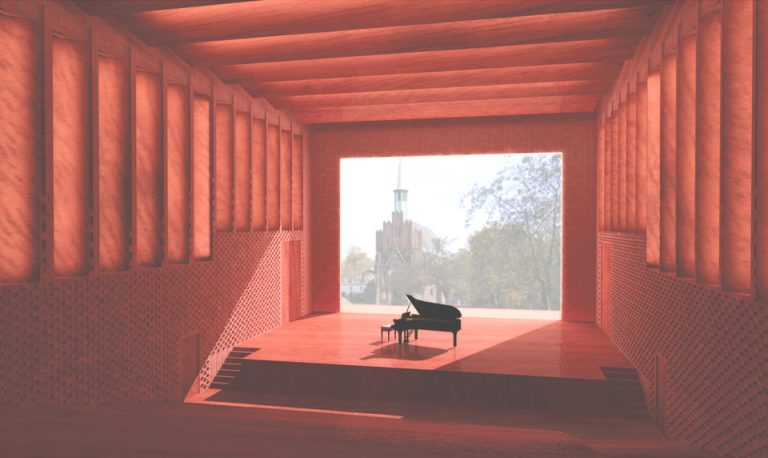 Projekt sali wielofunkcyjnej dla Państwowej Szkoły Muzycznej w Żaganiu - wnętrze